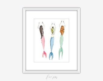 Mermaid art print, mermaids, mermaid printable, mermaid illustration, mermaid watercolor, art print, watercolor, illustration, print, 8x10