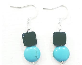 black agate and turquoise earrings, sterling silver earrings, gifts for her, gifts for mum, sterling silver jewelry, turquoise jewelry