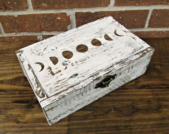 Made Upon Order Lunar Cycle Box, White Moon Phase Box with 8 Sections, Divided Crystal Box, Rustic Rock Storage Box, Unique Boho Jewelry Box