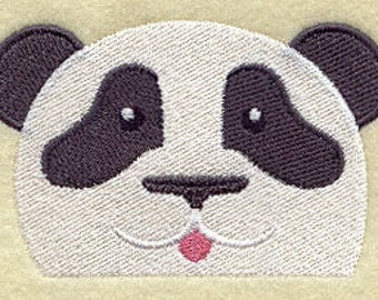 Peeking Panda, Embroidered  Hand terry towel