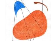 Handpainted Original Art - Mid Century Modern Atomic Art / Amoeba Shapes / Turquoise, Orange, Green