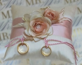 Pure silk dupioni ring bearer's pillow with hand dyed, handcrafted silk flowers cream ballet pink peach