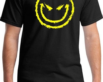Evil Smiley Face Men's T-Shirt, Smiley Face T-Shirt, Evil Funny Gift, Adult Heavy Tshirt, Cool Funny Humorous Tee, happy tshirt, party shirt