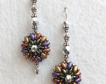 Crystal Rainbow Seed Bead Earrings