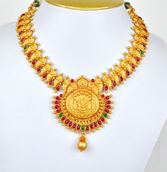 Antique matt gold design Indian peacock temple kemp necklace  with earrings    Indian Jewellery   Indian Necklace   Temple Jewelry