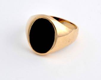 Handsome masculine 1940's bloodstone mens 14k gold ring.