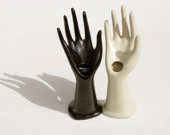 Vintage French ceramic /hand mold/ glove mold /soliflor/ring holder/ceramic hand/display /ring/jewelry holder/jewelry display