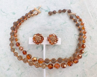 Signed Marvella necklace and earring set amber colored crystal gold tone filigree beads AB701