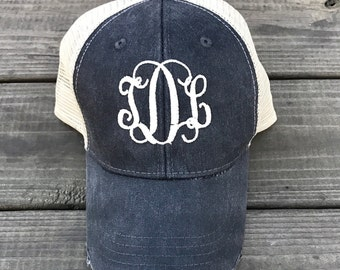 Monogrammed Trucker Hat, Womens Baseball Hat, Monogram Hat, Womans Monogrammed Hat, Monogrammed Baseball Hat, Black Trucker Hat
