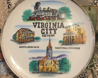 Virginia Ciy Nevada Souvenir Plate; Collectible Nevada State Souvenir Plate;