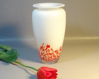 Mid-Century Modern Italian Art Glass Vase White Cased Glass w/Red Spatters---