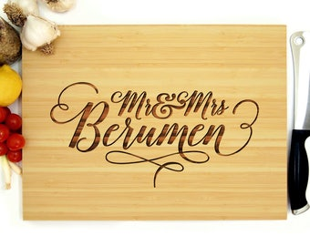 Personalized Cutting Board, Custom Wedding Gift, Anniversary Gift, Housewarming Gift, Christmas Gift, Chef Gift, Mr and Mrs Monogram