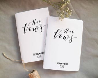 Vow Books - Personalised Vow Booklets - Set of 2 Vow Notebooks - His and Her Vows - White Vow Booklets - Wedding Notebooks - His & Her