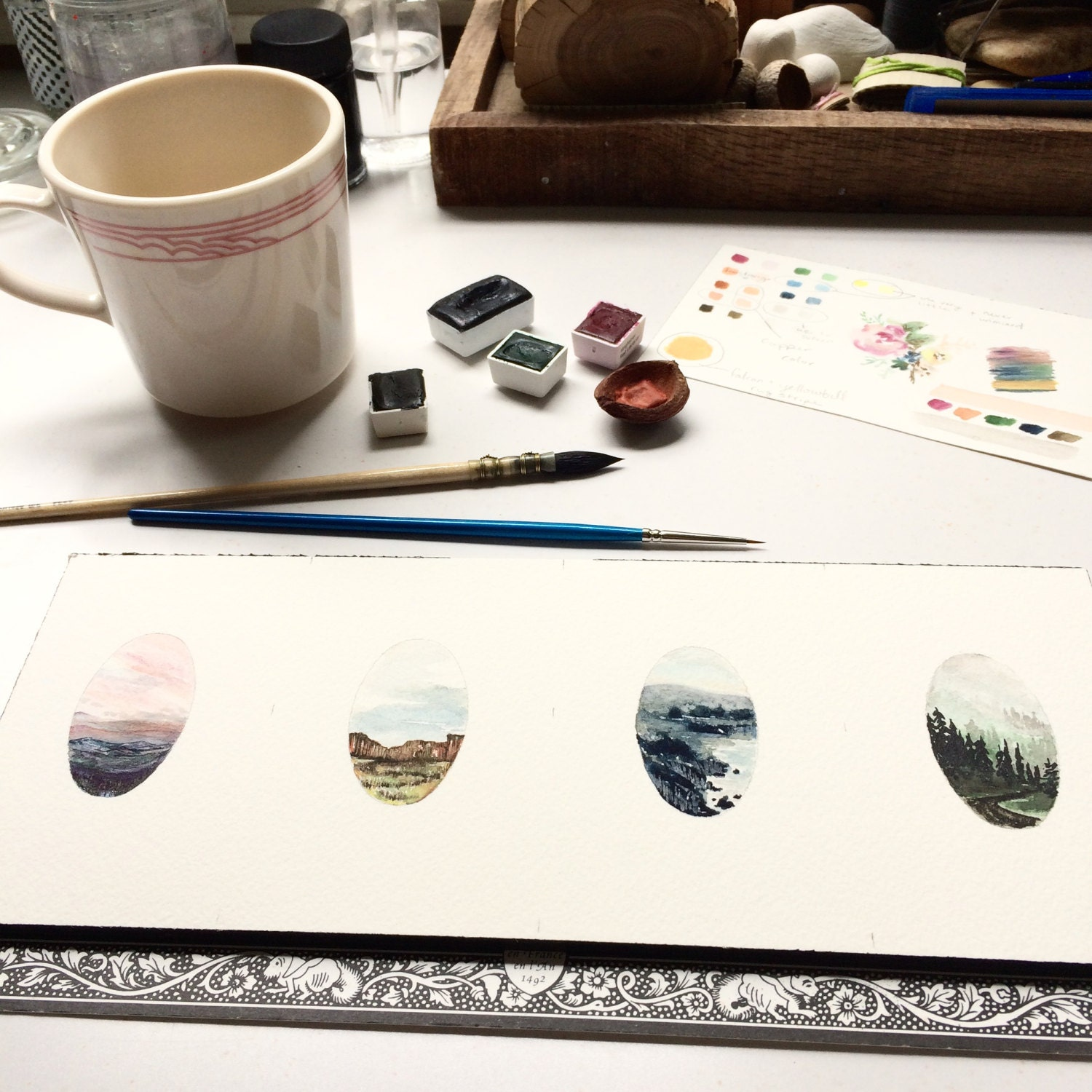 Four tiny landscapes in a row