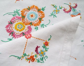 Vintage Linen Square Tablecloth. Large White Tablecloth with Hand Embroidered Bright Orange and Pink Flowers. Perfect For Afternoon Tea
