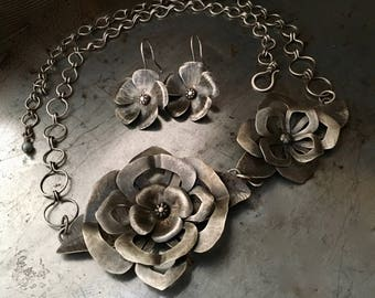 Handmade silver jewelry, hand forged flower earrings and necklace set