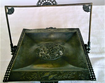 Antique Victorian Ornate Silverplate Wedding or Cake Basket With a Swing Handle
