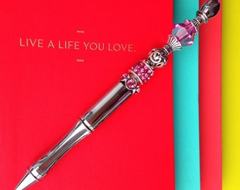 Statement Pen™ Pink Silver Dazzle Bead Pen
