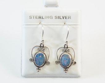 Australian Opal Earrings (Oxidized Finish)