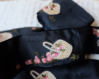 1800s antique French haute couture jacquard silk ribbon black w/ basket of pink rose flowers floral millinery, costume design, home decor
