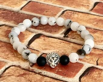 Natural Tourmaline Quartz Silver Lion's Head Bracelet for Him, Men's Bracelets, Lions Head, Protection Bracelets, Gifts for Him