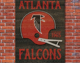 Atlanta Falcons - Vintage Helmet - Art Print - Perfect for Mancave