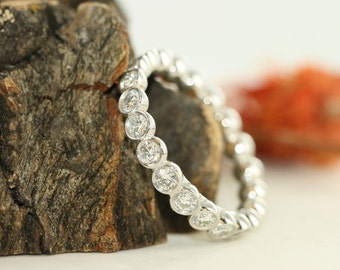 Bezel Set Platinum Diamond Wedding Eternity Band Brilliant Cut Diamond Eternity Band Ready to Ship Size 7.25