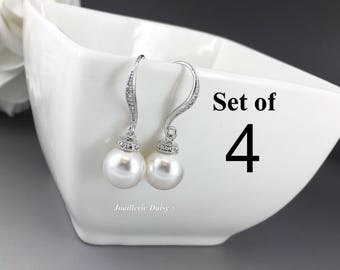 Set of 4 Wedding Earrings Dangle Earrings Swarovski Pearl Earrings Bridal Earrings Bridesmaid Earrings Bridal Jewelry Maid of Honor Gift