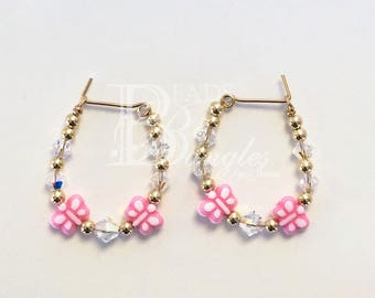 AB Butterfly and Crystal Earrings