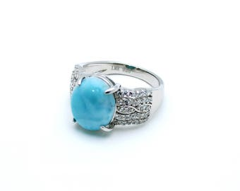 Larimar Ring 12X10 Oval With White Sapphire Accents .925 Sterling Silver (New Style)