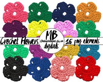 CROCHET FLOWERS, 16 Colors, Clip Art, Digital Scrapbook Elements