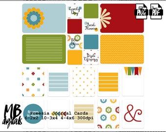 FREESIA, Digital Journal Cards, Flowers, Springtime, Blue, Red, Green, Orange, Printable Cards, Pocket Scrapbooking, INSTANT DOWNLOAD