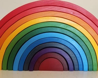 "Wooden rainbow puzzle stacker, extra large rainbow, wooden puzzle, waldorf inspired, 3.75"" thick"