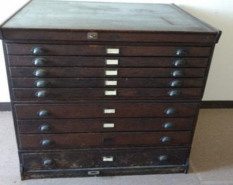 Wooden Flat Map File 9 Drawer K&E