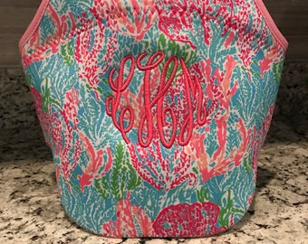 Monogram Lunch Bag/ Insulated Lunch Bag/ Monogram Bottle Bag/ Lily Inspired Lunch Bag