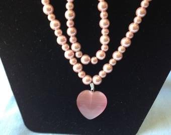 2-pc Set Pink Necklace and Bracelet.