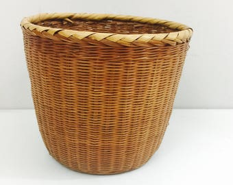 Vintage Bamboo and Wicker Chinese Planter Basket 8""