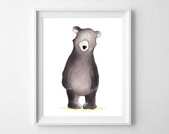 Woodland Bear Nursery Wall Art,Bear Children art,Bear Nursery Decor,Woodland Nursery Decor,Bear Kids Art,Bear Baby Art,Bear Boys Girls Art