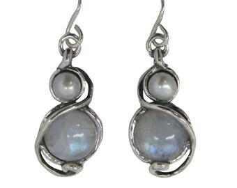 moonstone june, birthstone earrings, moonstone  earrings, oxidized earrings, june birthstone, June earrings, pearl earrings, dangle earrings