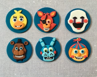 12 Five Nights at Freddy's fondant cupcake toppers