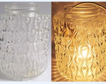 Vintage Mid century 60's Clear Optic Glass Lamp light Shade Screw On Chandelier