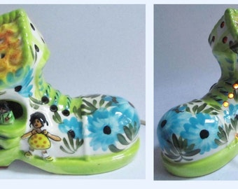 Vintage 70's Derek Fowler Kitsch Pottery Night Light Shoe Boot Lamp