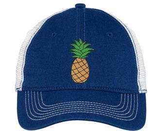 Pineapple Embroidered  Mesh Back Hat.   - Mesh Back.  Embroidered Baseball Hat - Mesh Back.  Embroidered Trucker Hat. Trucker Hat. DT607