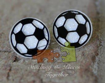 White Glitter Soccer Earrings