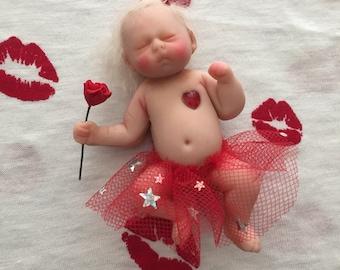 Valentine's ooak clay baby