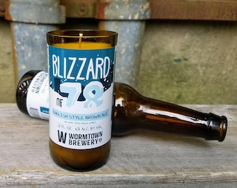 Upcycled Blizzard of 78 Beer Bottle Soy Candle, Fun Boston Massachusetts or New England Man Cave Decor
