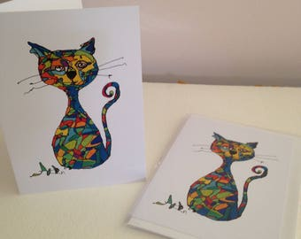 Cat Card Greetings Card Blank Card Kitty Cat Art on a Card Madison the Cat