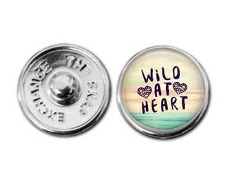 Wild At Heart, charm, Snap charm, snap jewelry,  boho charm, inspirational charm, charm bracelet, interchangeable jewelry, snap bracelet