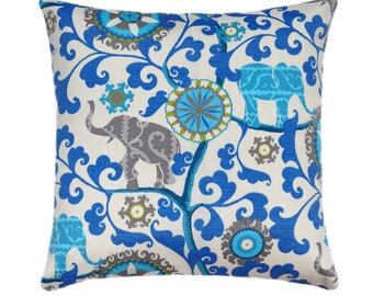 Blue Outdoor Pillows, Blue Outdoor Cushions, Floral Outdoor Pillow Covers,  Menagerie Sapphire Decorative