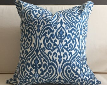 Pillow Cover, Blue Ikat Pillow Cover, ALLURE